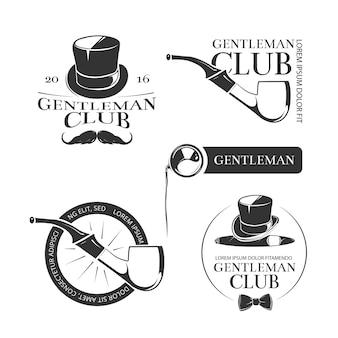 Retro gentleman club vector logos