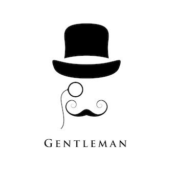 帽子と接眼レンズと美しい口ひげを持つレトロな紳士