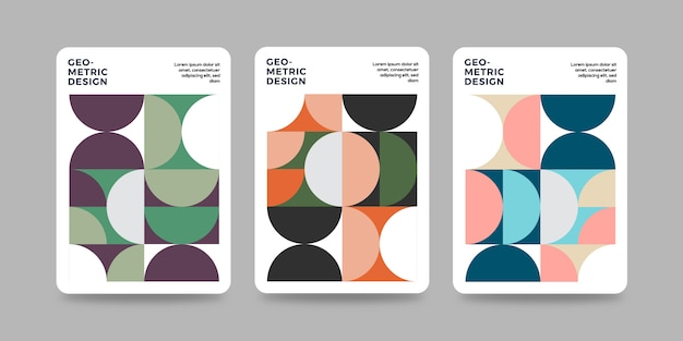Retro geometric cover template with bauhaus design