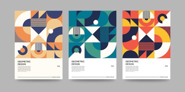 Ретро геометрический шаблон обложки с дизайном баухауз