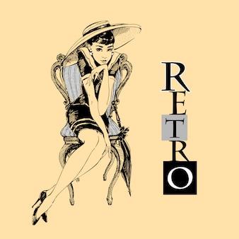 Retro girl in hat