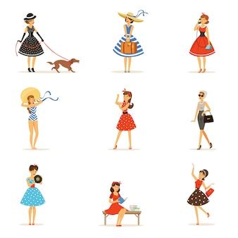 レトロな女の子キャラクターセット、ヴィンテージのドレスを着ている美しい若い女性は白地にカラフルなイラストをドレスアップ