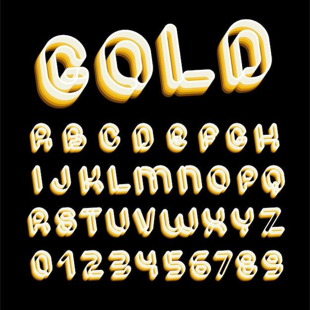 레트로 골드 글꼴입니다. 70-80-90년대 미학의 편지. 계층화 된 스타일의 벡터 알파벳입니다.