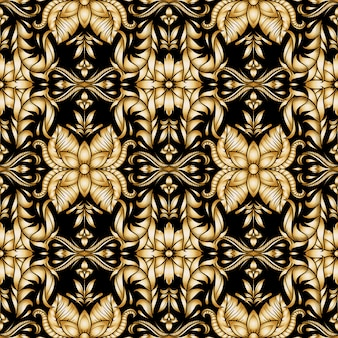 Retro gold ornamental floral seamless pattern