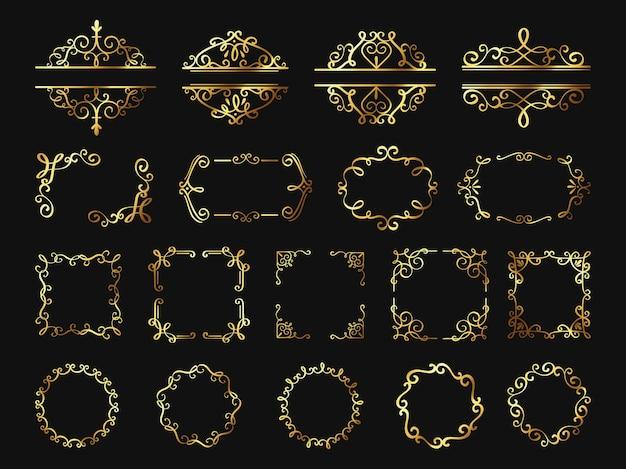 Ретро золотые рамки. винтажные золотые границы и углы, классический элемент орнамента. фоторамка, обложка, свадьба или сертификат декор вектор набор. красивое элегантное украшение светящимися завитками