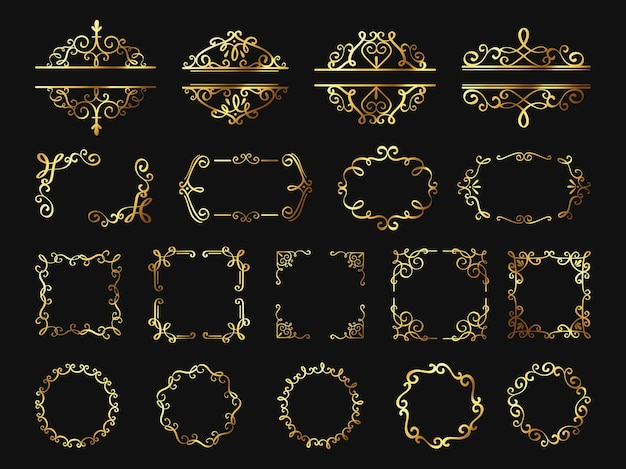 Retro golden frames. vintage gold borders and corners, classic ornament element. photo frame, cover, wedding or certificate decor vector set. beautiful elegant glowing swirls decoration