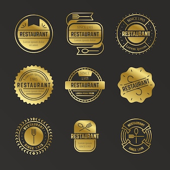 Retro golden restaurant logo collection