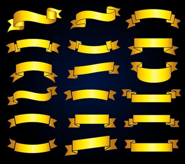 Set di banner retrò nastro dorato