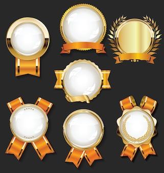 レトロなゴールデンリボンとラベルコレクション