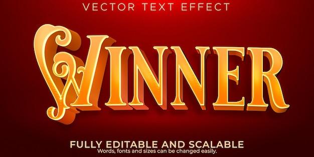 Эффект ретро-золотого текста, редактируемый королевский и винтажный стиль текста