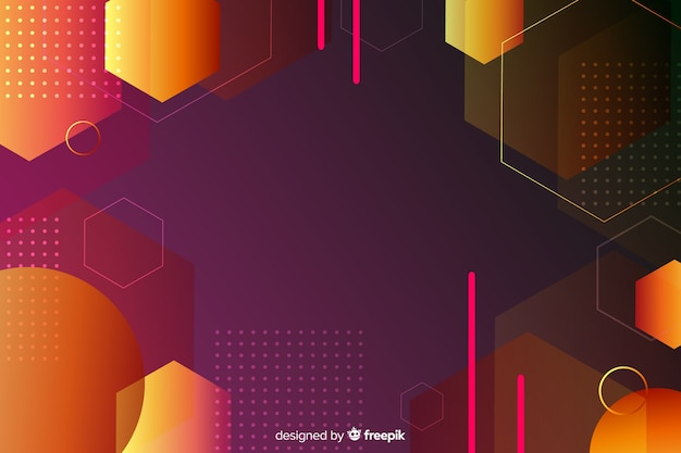 Retro gradient geometric shapes background