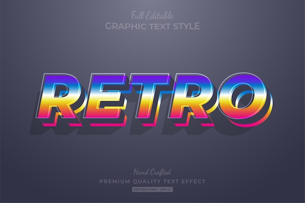 Retro gradient vintage editable text effect font style