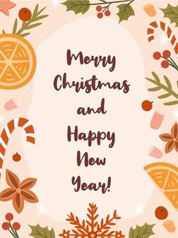 Ретро дизайн поздравительной открытки рождественская открытка флаер шаблон поздравительной открытки праздничная рамка
