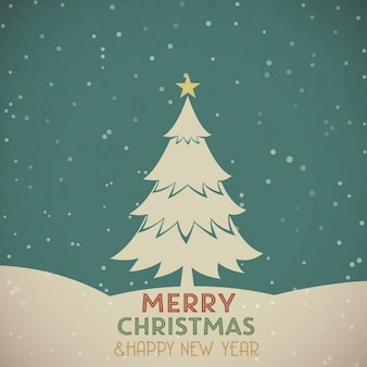 Retro greeting card with christmas tree
