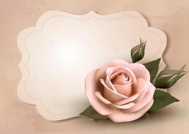 핑크 장미와 함께 레트로 인사말 카드입니다.