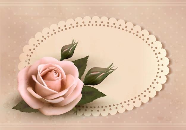 핑크 장미와 함께 레트로 인사말 카드