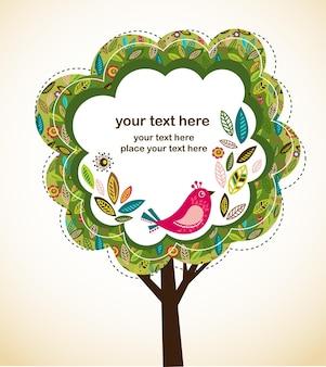 나무 모양의 프레임 레트로 인사말 카드