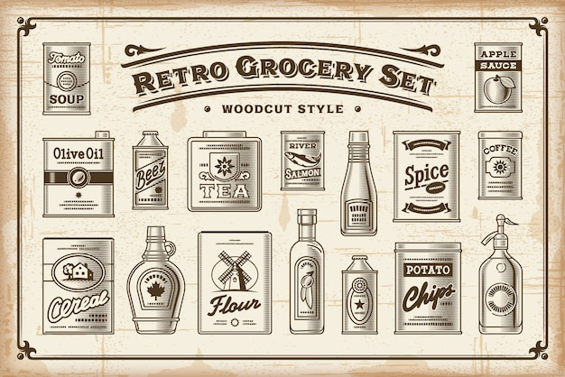 Retro grocery set one color