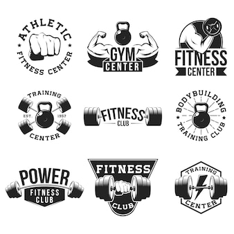Retro gym flat emblem set