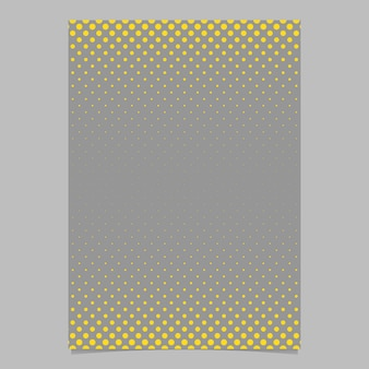 Retro halftone dot pattern flyer background template - vector document, brochure graphic with yellow circles