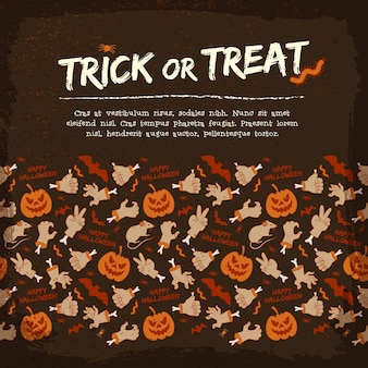 Retro halloween background with text zombie arm gestures bat rat pumpkin spider worm caterpillar