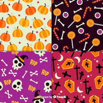 Retro halloween pattern collection