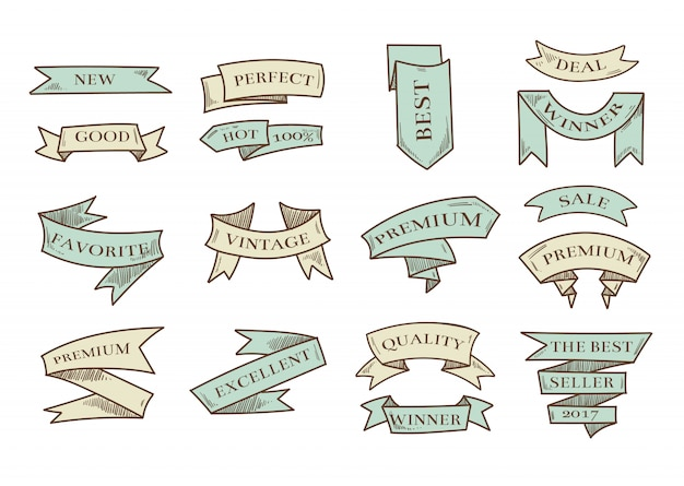 Retro hand drawn cartoon vector ribbons