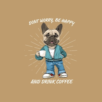 Retro hand drawn dog drinking coffee
