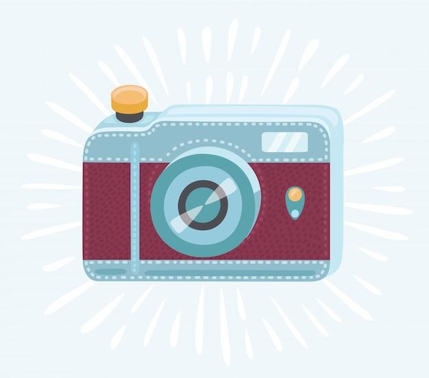 レトロな手描きのヒップスター写真カメラ白い背景の上。ヴィンテージのイラスト、tシャツ、ポスター、カードの印刷。スマイル。