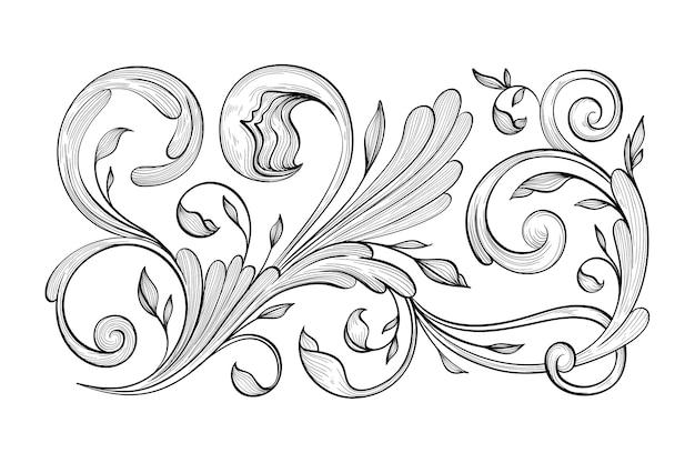Retro hand drawn ornamental border in baroque style
