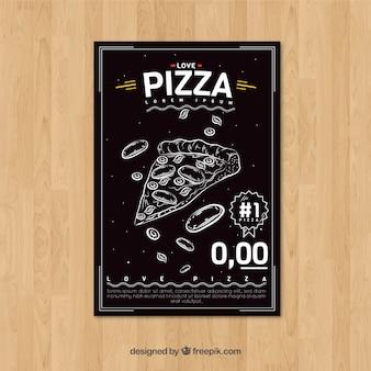 레트로 손으로 그린 피자 안내 책자