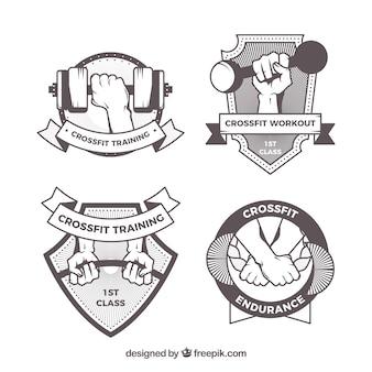 Retro handmade crossfit stickers pack