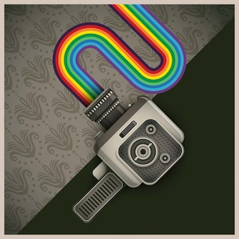 Retro handy cam and rainbow illustration