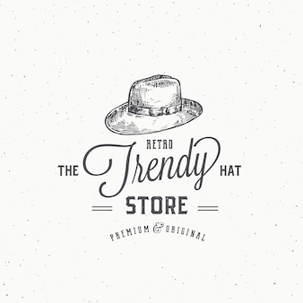 Retro hat store abstract  sign, symbol or logo template.