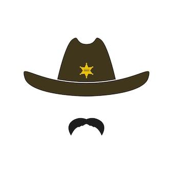 별과 콧수염이 있는 복고풍 모자