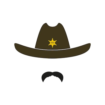 Retro hat with star and mustache