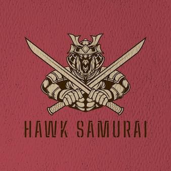 로고 캐릭터와 티셔츠 디자인을위한 레트로 호크 사무라이 그림