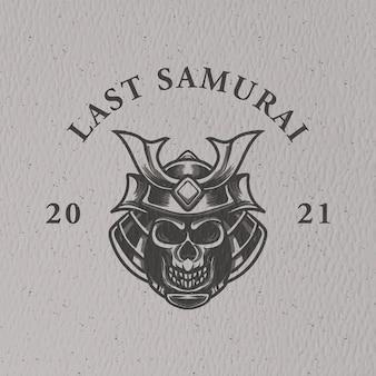 로고 캐릭터와 티셔츠 디자인을위한 레트로 헤드 사무라이 그림