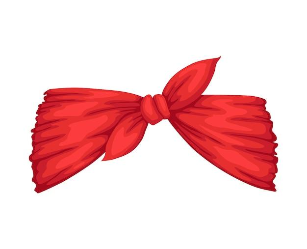 女性のためのレトロなヘッドバンド。髪型の赤いバンダナ。弓で風の強い髪のドレッシング。