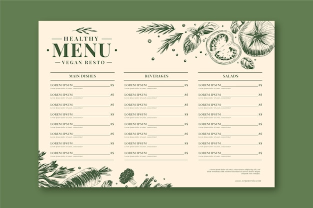 Retro healthy food restaurant menu template
