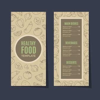 Retro healthy food restaurant menu