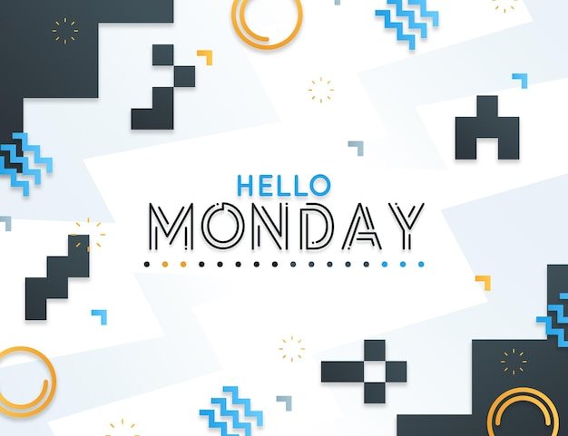 Retro hello monday background