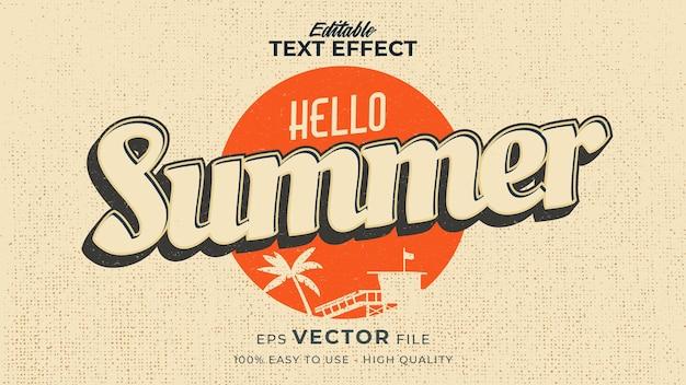 Retro hello summer text in grunge style theme