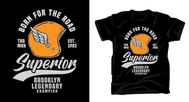 Дизайн футболки типографии ретро шлем