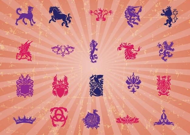 Retro heraldic vector graphics