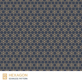 Retro hexagon line seamless pattern on indigo blue background