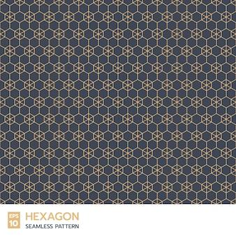 インディゴブルーの背景にレトロな六角形のラインのシームレスなパターン