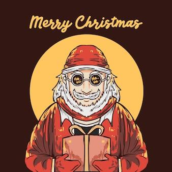 크리스마스 선물 상자 그림을주는 레트로 히피 산타 클로스