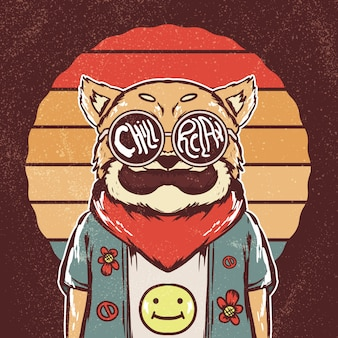 Retro hippie shiba inu dog illustration