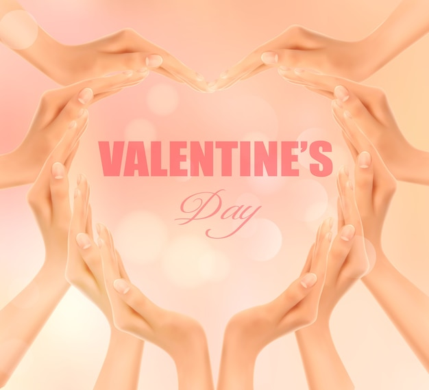Retro holiday background with hands making a heart. valentine's day.